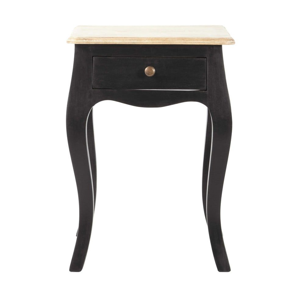 Table De Chevet 1 Tiroir En Acacia Et Manguier Noire Maisons Du Monde Mango Wood Bedside Tables Bedside Table Wood Bedside Table