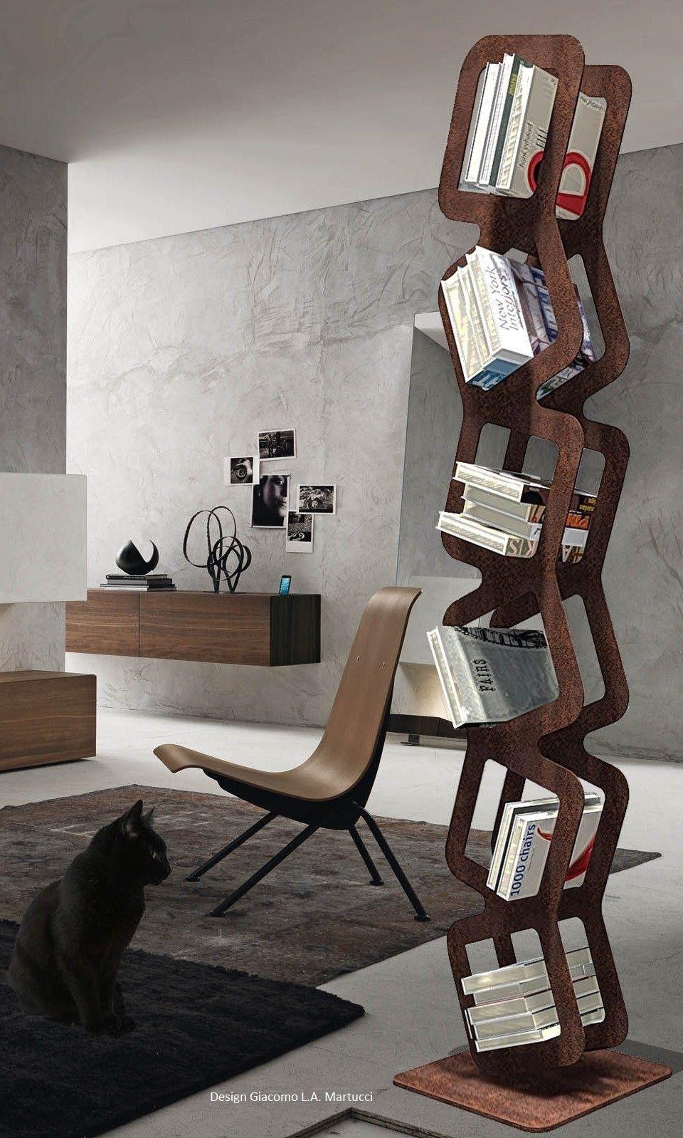 Libreria Verticale In Metallo.Dedalo Libreria Scultorea In Metallo Verniciato A Polveri Colori
