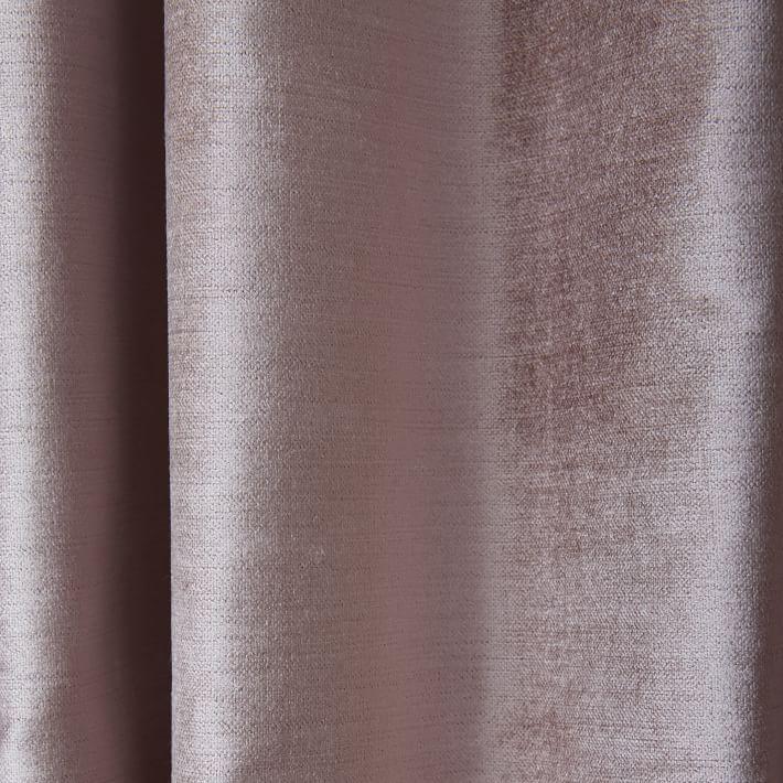 "Cotton Luster Velvet Curtain, Dusty Blush, 48""x84"