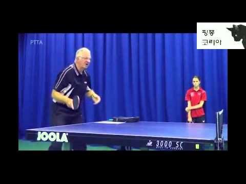 탁구기초 - 하회전(커트성 서브) 짧은 서브에 대한 포핸드 플릭 리시브 방법(forehand push at under spin s...