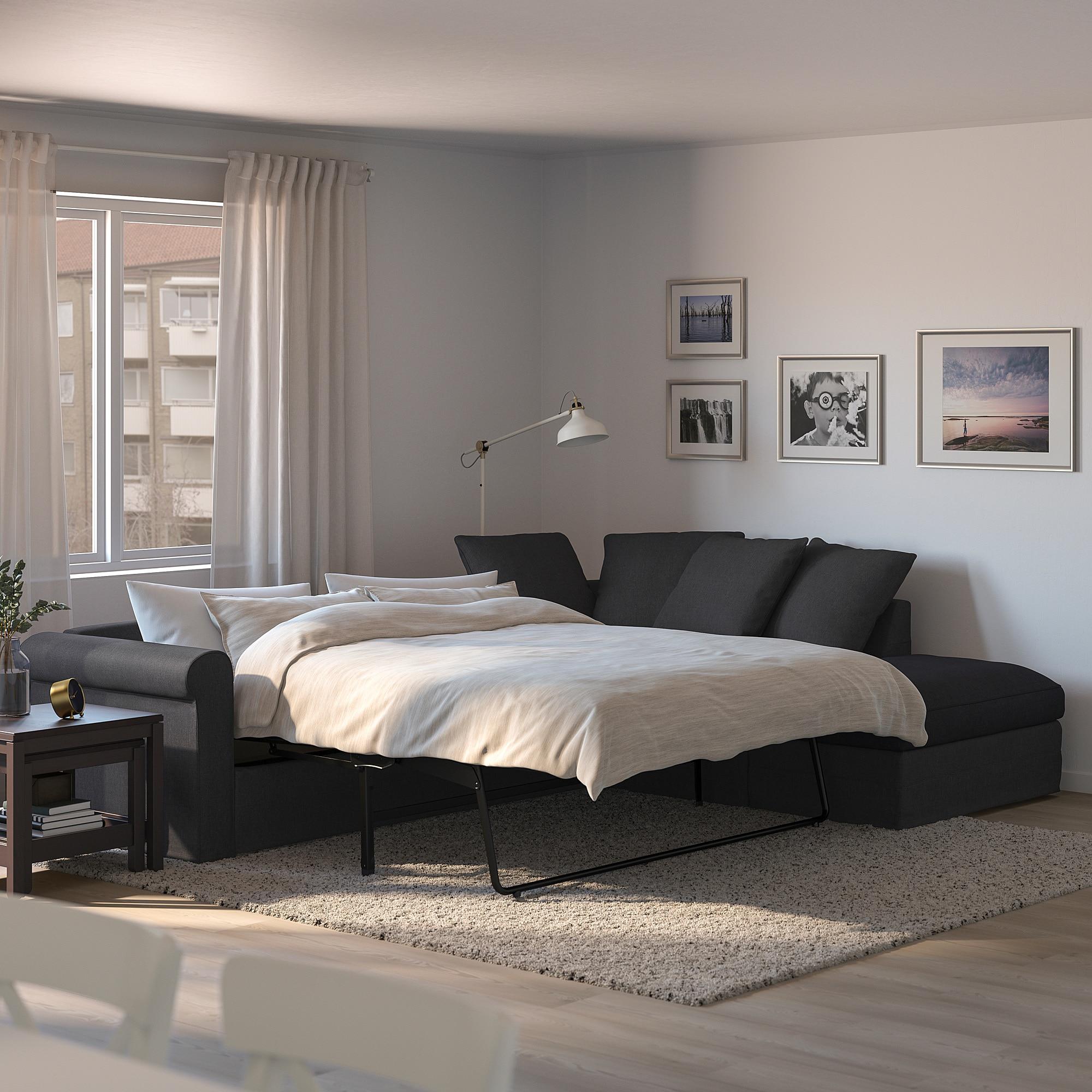 IKEA GRÖNLID Corner sofabed w/storage with open end