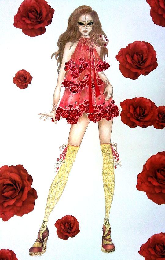 Bosquejo de la moda vestido de Roses