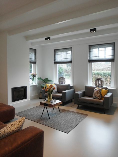 Gietvloer woonkamer   Pinterest - Raambekleding, Raamdecoratie en ...