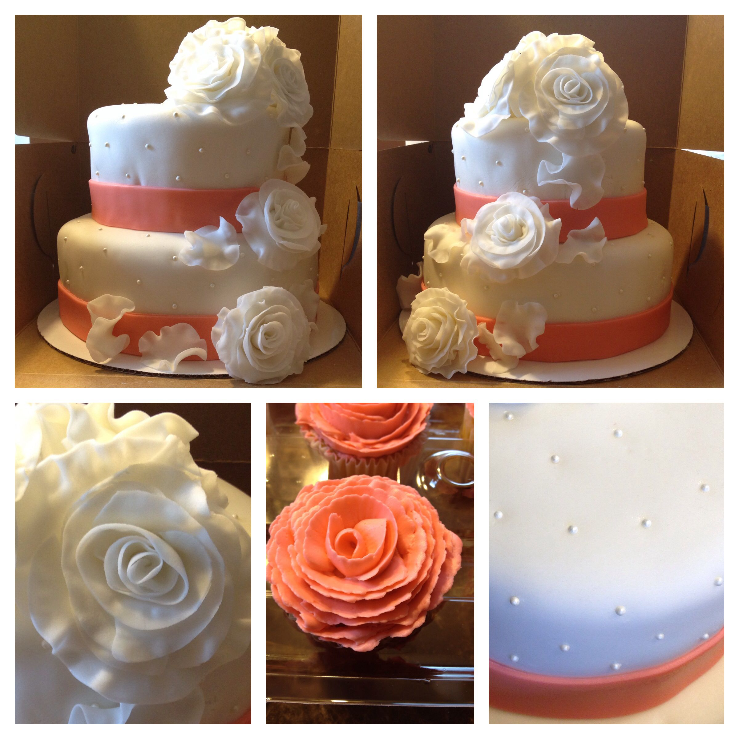 Fondant Flowers For Wedding Cakes: Wedding Cake! Coral Ribbon With Fondant Flowers. Coral
