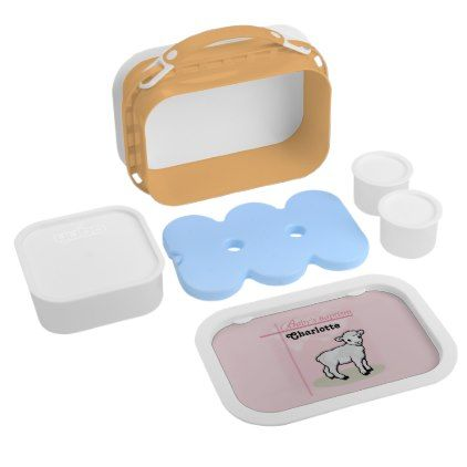 Customizable Baptism Pink Girl Lamb Lunch Box - kitchen gifts diy ideas decor special unique individual customized