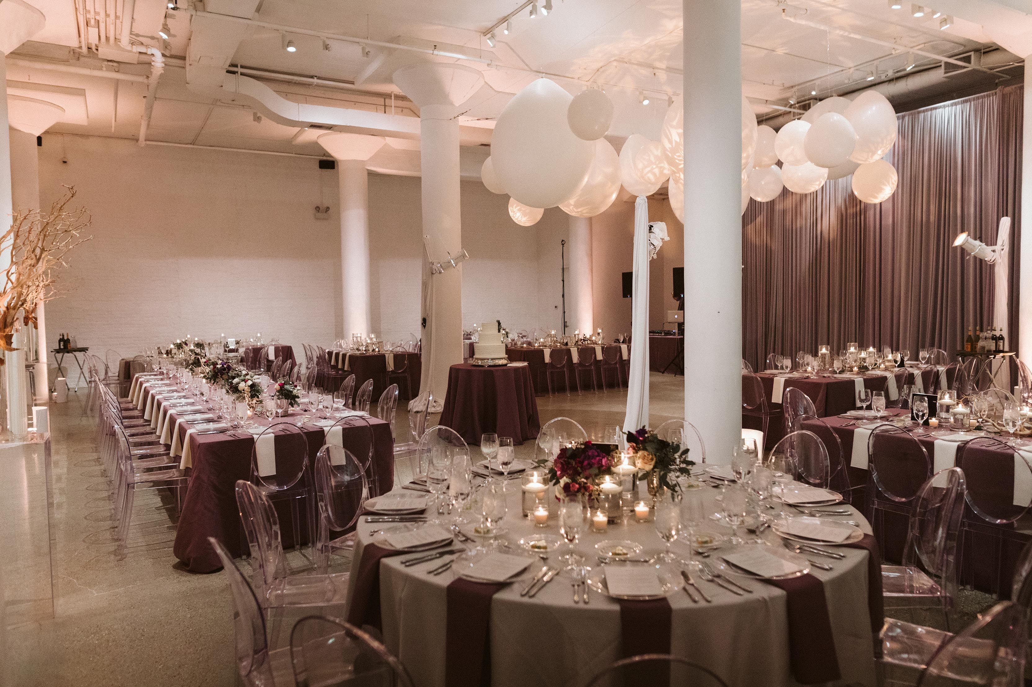 Contemporary Wedding Reception With Maroon Linens Grey Tablecloths White Balloon Ceiling Display Gold Tree Branches Ghost Chairs Floral: Grey White Wedding Venues At Websimilar.org