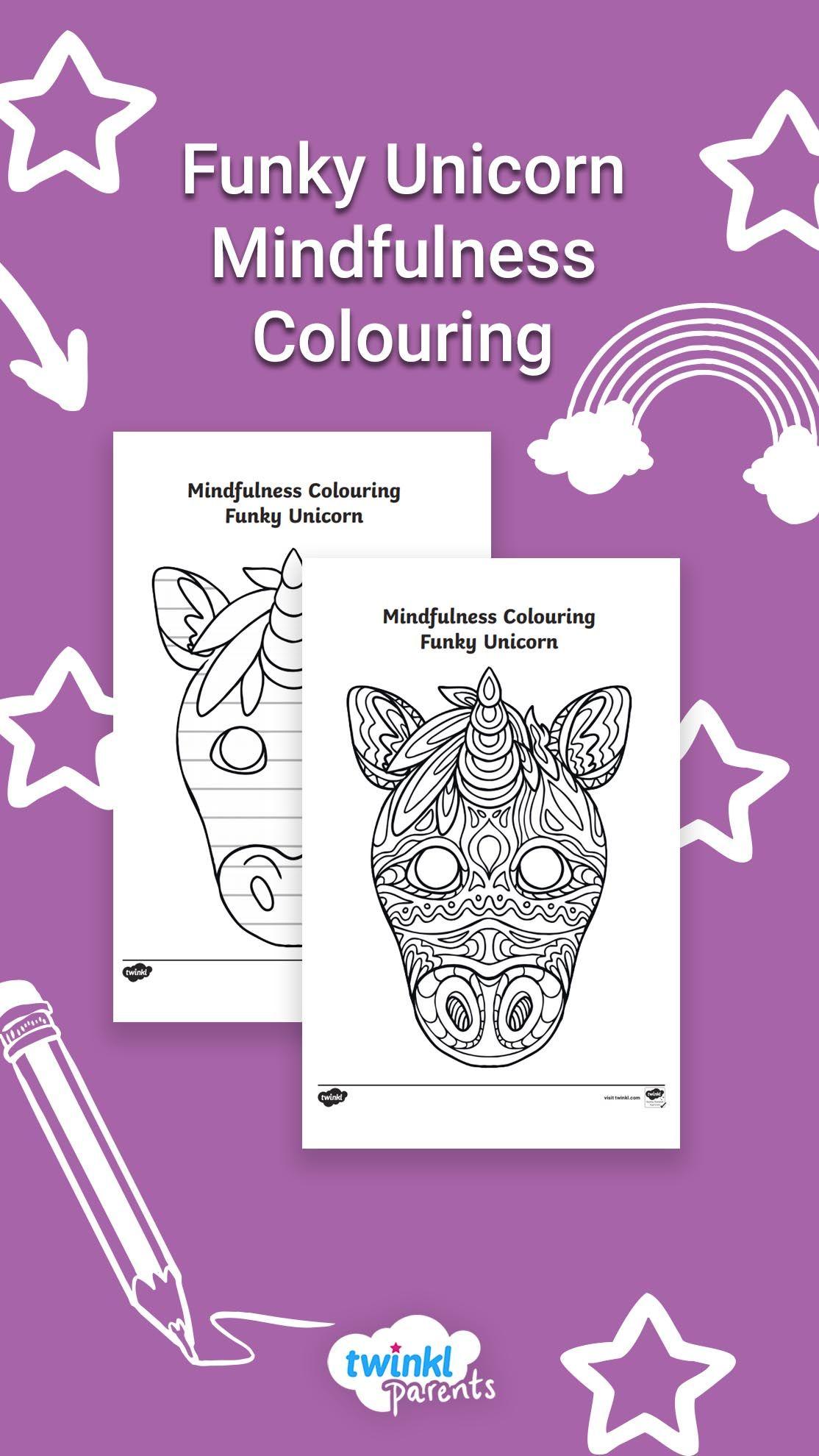 Funky Unicorn Mindfulness Colouring Mindfulness Colouring Mindfulness For Kids Learning Colors