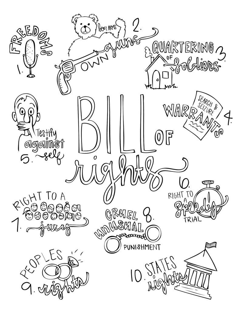 Color the preamble and bill of rights in 2020 bill of