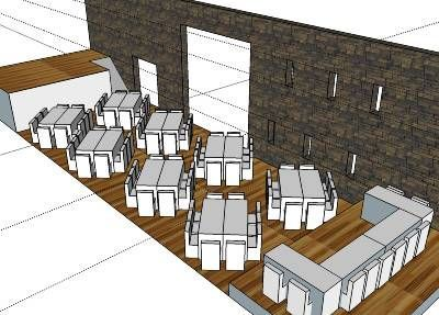 Layout for wedding reception room