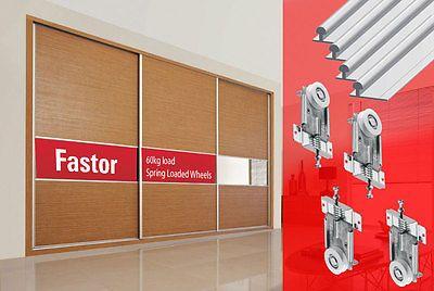 Fastor Sliding Wardrobe Door 2400mmTrack Kit DIY Spring Loaded Wheels (3 door) | eBay