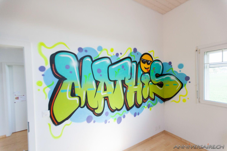 Chambre déco graffiti prénom en graff et trompe loeil au spray décoration de la chambre par un graffiti artist