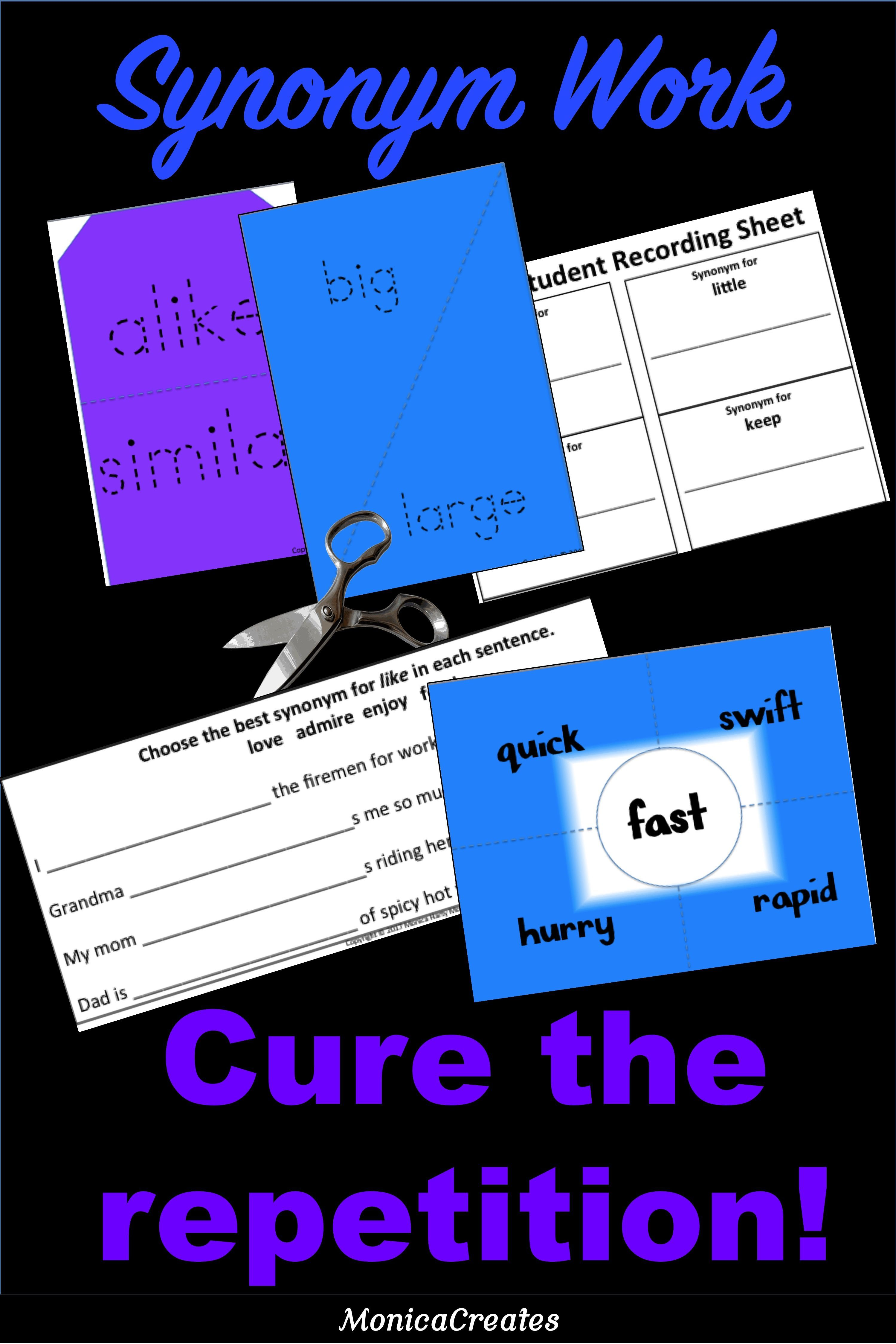 Synonyms - Matching Activities + Student Response Sheets + Blank Templates to add your own words.…   Synonym activities. Synonyms and antonyms ...