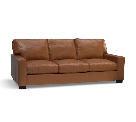 Turner Square Arm Leather Sleeper Sofa 3 Seater 82 5 Polyester
