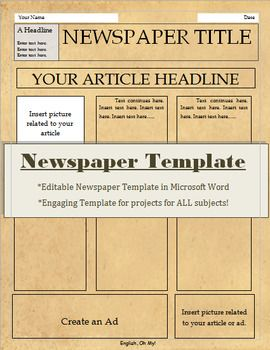 newspaper template for all subjects pinterest microsoft word