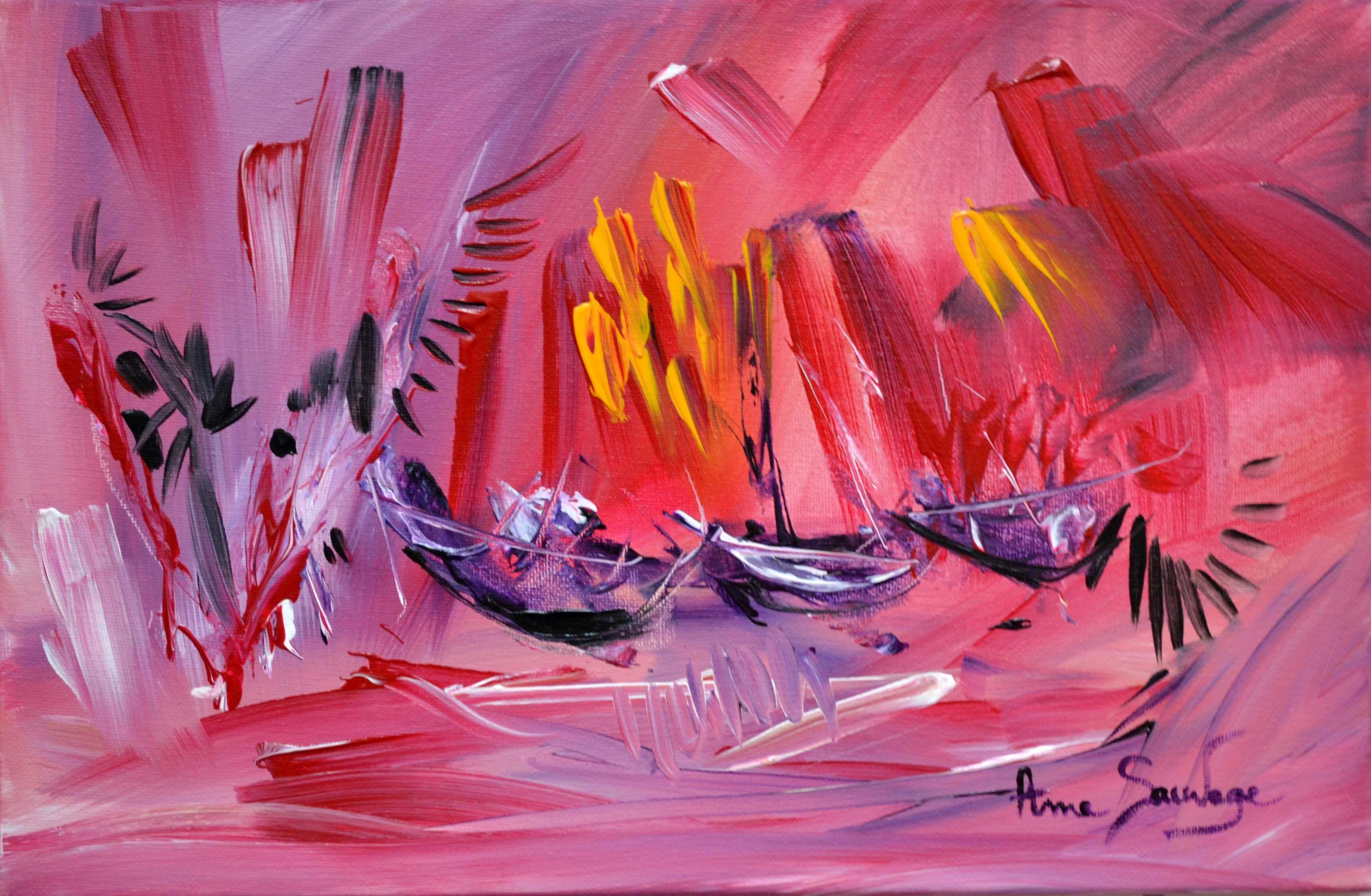 Tableau Abstrait Rouge Bateaux Art Peinture Abstraite Artiste