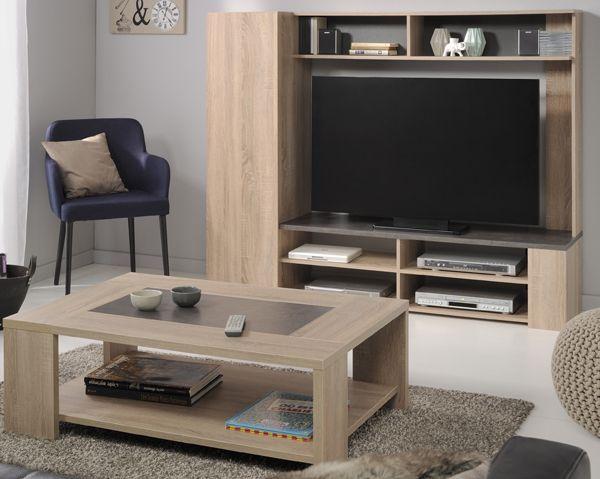 TV - Wand und Couchtisch Jasmin 2tlg In zeitloser Eiche Natur - natur wand im wohnzimmer