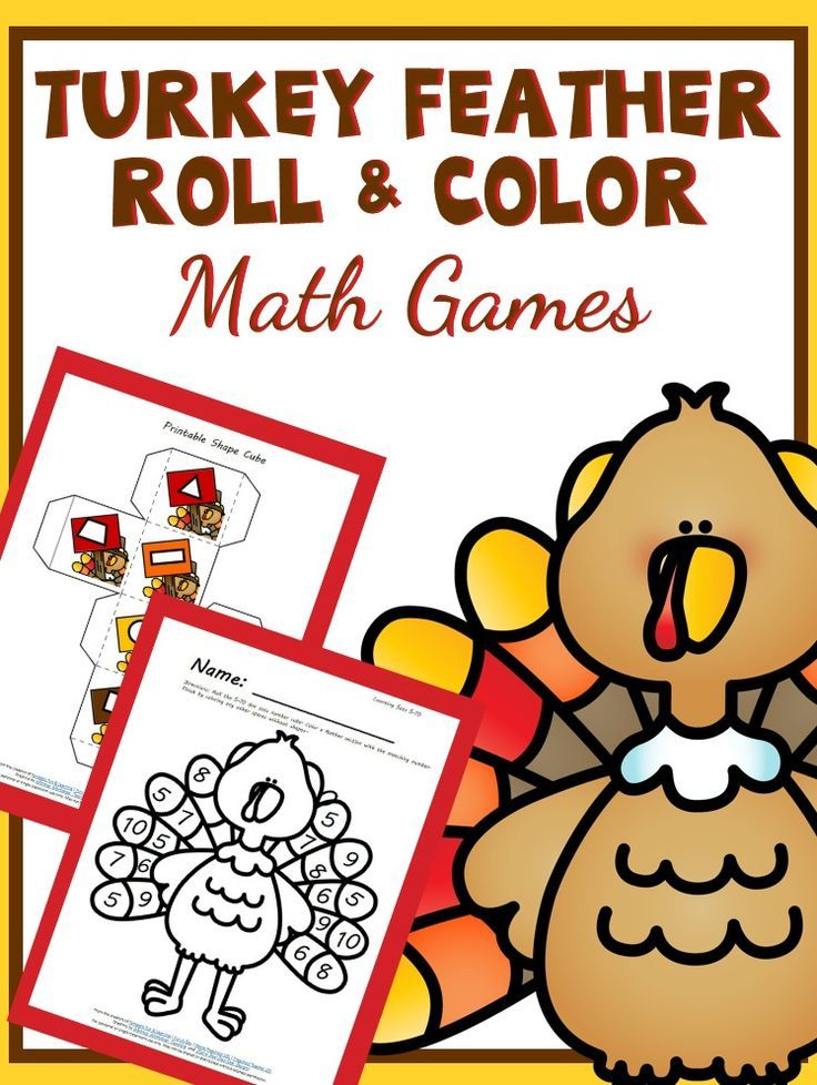 Turkey Feather Roll and Color Thanksgiving Math Activities | Pre ...