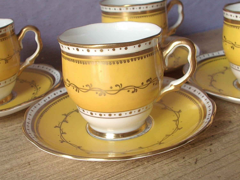 Antique 1920s Royal Albert Crown China tea set, yellow tea cups and saucers set of 4, demitasse tea cups, English tea cups set, antique tea  These