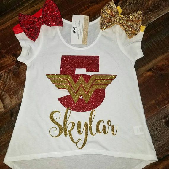 Order This Beautiful Wonder Woman Shirt With Your Little Ones Name And Age