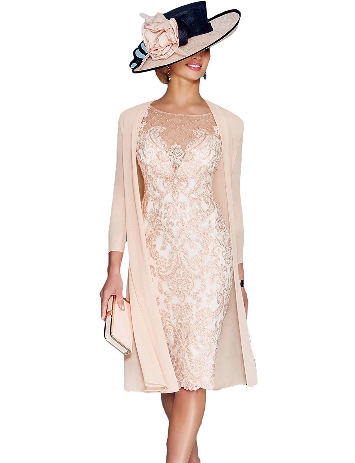 Newdeve light pink lace sleeve knee length formal bridal mother