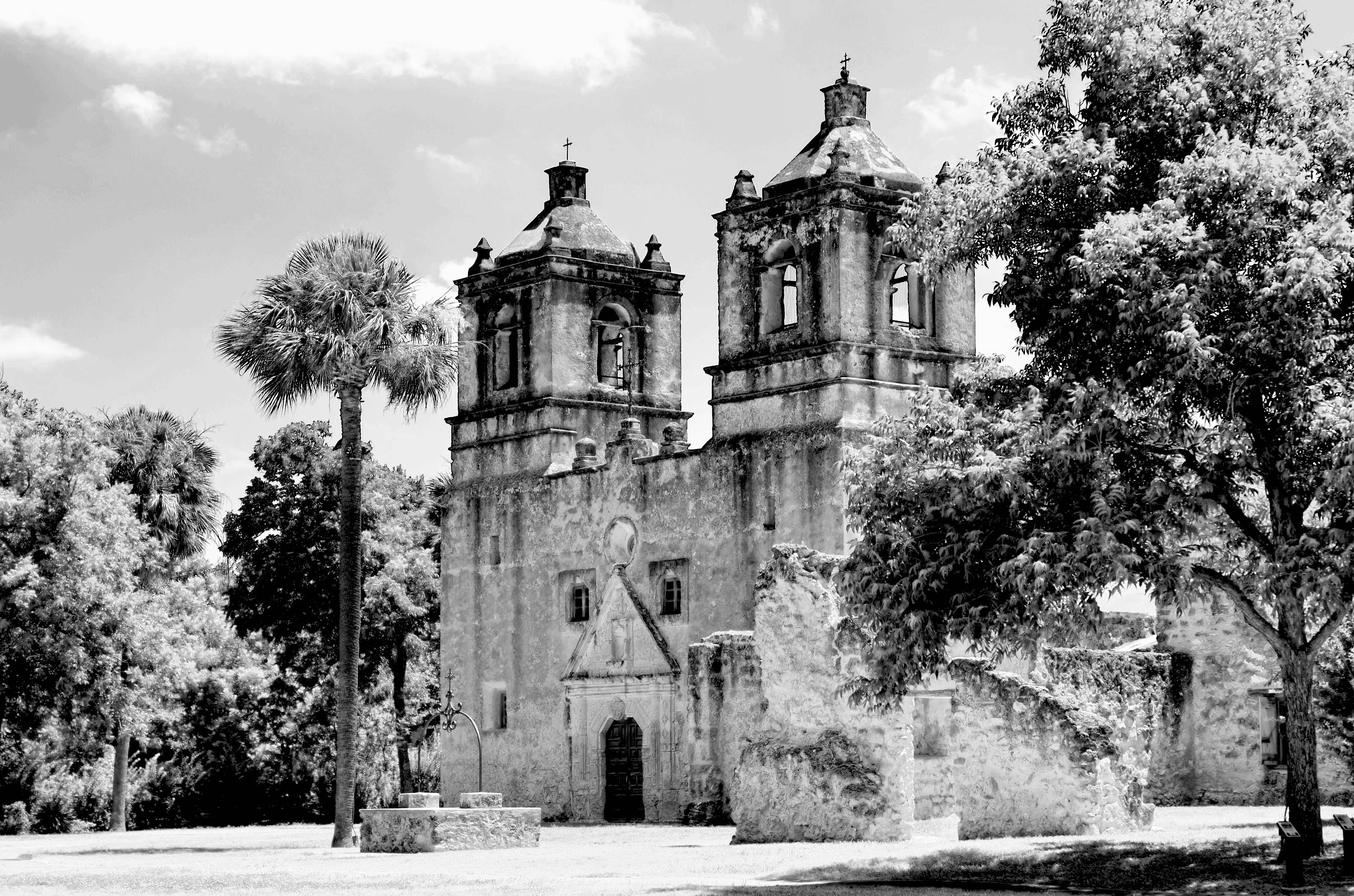 Mission Concepcion - San Antonio Texas historical mission architecture fine art print black and white by JDThurmanPhotography on Etsy