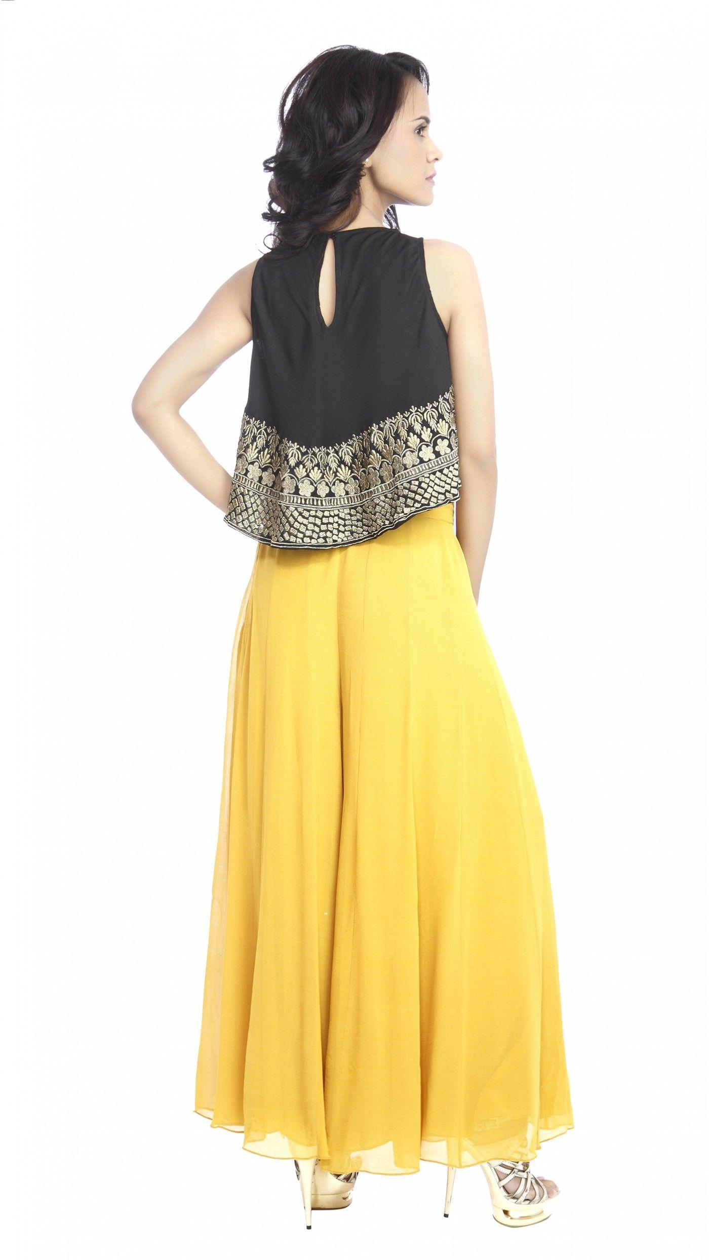 Astha Narang's Black Crop Top with Pants JIVA Bridal