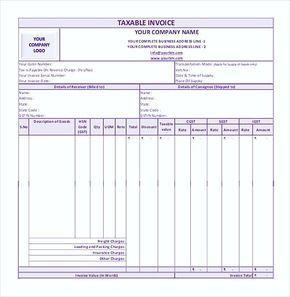 Simple Gst Invoice Format In Pdf  Simple Invoice Template Word