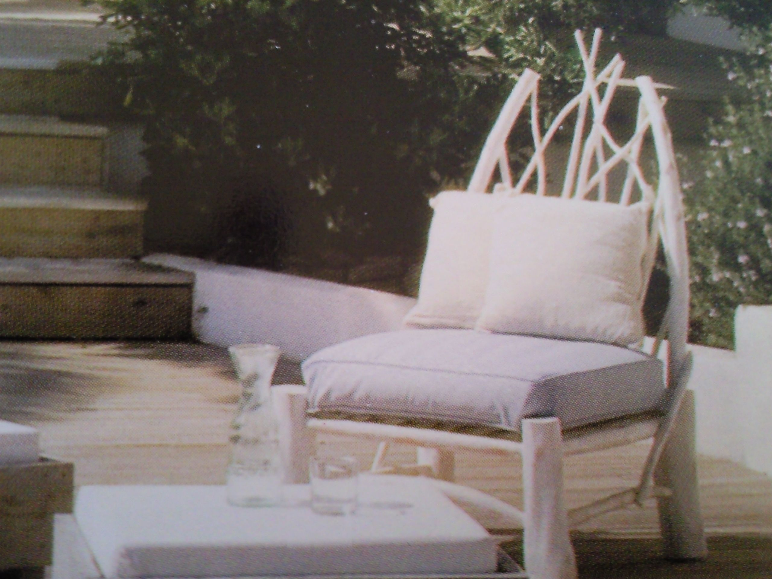 chair with whitewashed roundwood