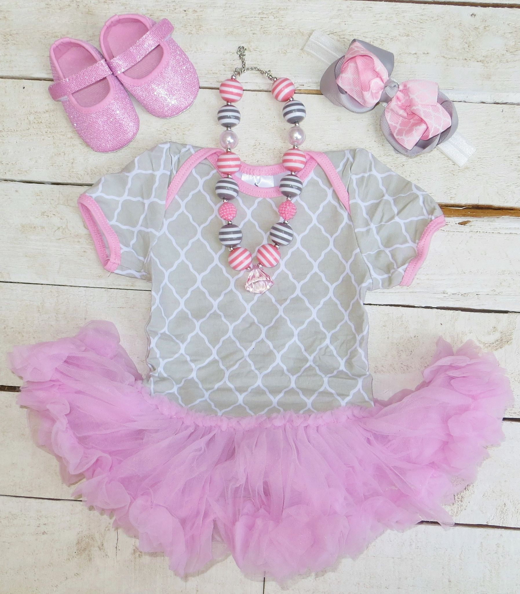 Pink Gray Lattice Tutu Onesie | Sparkle in Pink