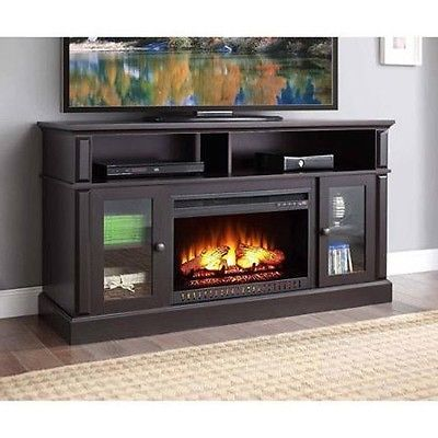 Electric Fireplace Tv Stand Media Mantel Entertainment Center Flame Heater Wood Electric