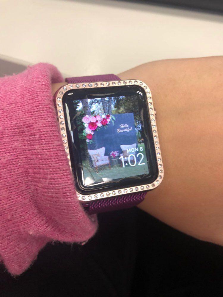 apple watch case diamonds rose gold, cover, bezel
