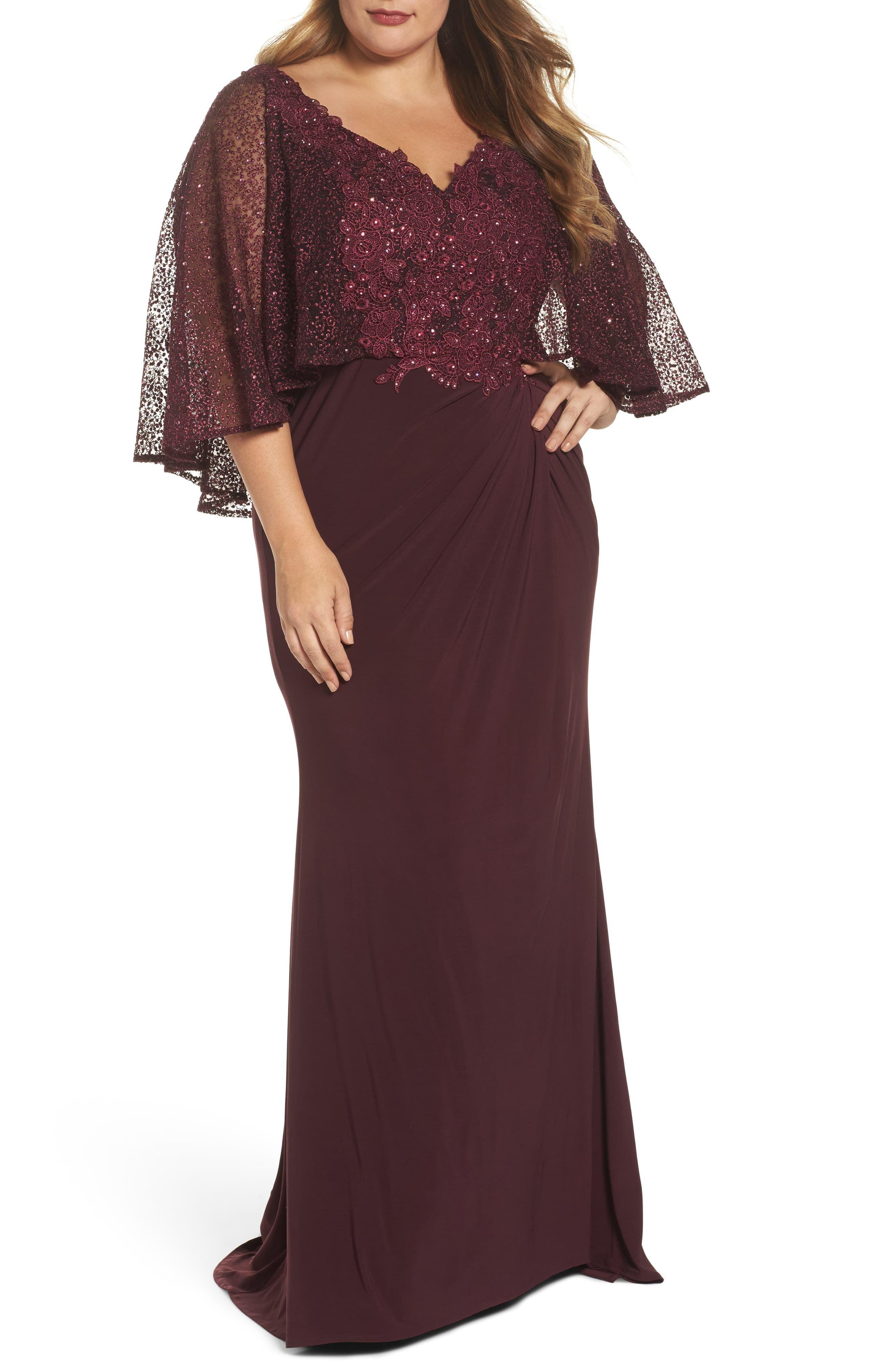 Plus Size Women\'s MAC Duggal Lace Capelet Column Gown, Size ...