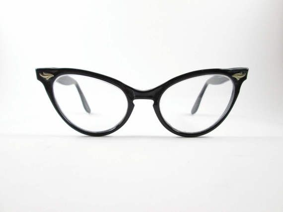 e6a77b846d4 Black Cat Eye Glasses SRO Frames Vintage Eyewear Mid Century VintageHag.com