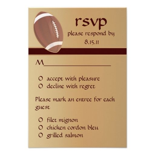 Football Wedding - Graduation RSVP Response Card