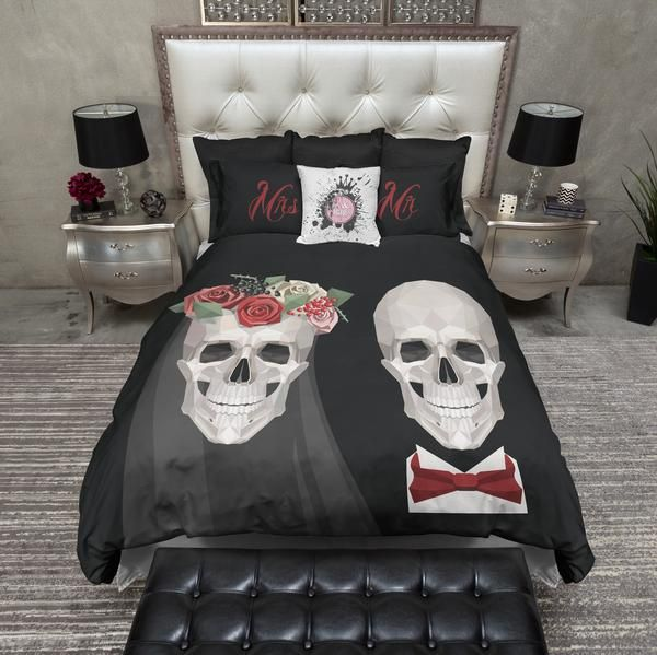 Modern Bride And Groom Skull Bedding Skull Bedding Skull Duvet
