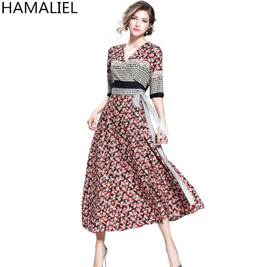 Hamaliel new summer fashion women long dress high quality half