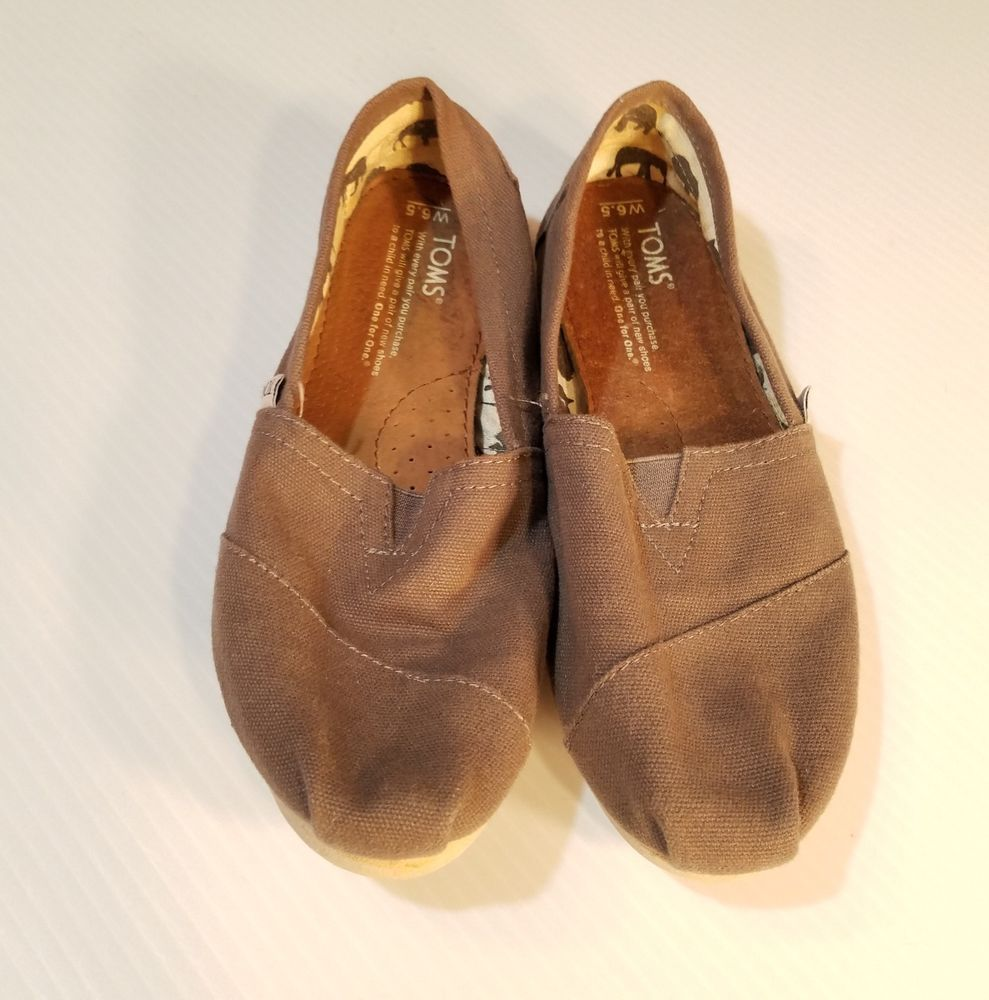 3ff7c9553b9 TOMS Womens Classic Brown Canvas Slip On Shoes Size US 6M  Toms  Loafers