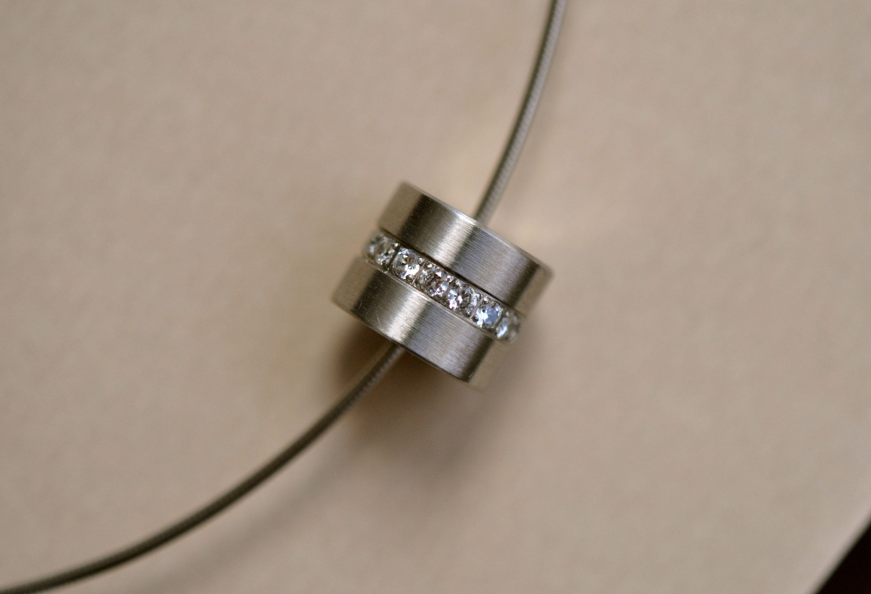 B Tiff Necklace With Stainless Steel Barrel Pendant In 2020 Stainless Steel Pendant
