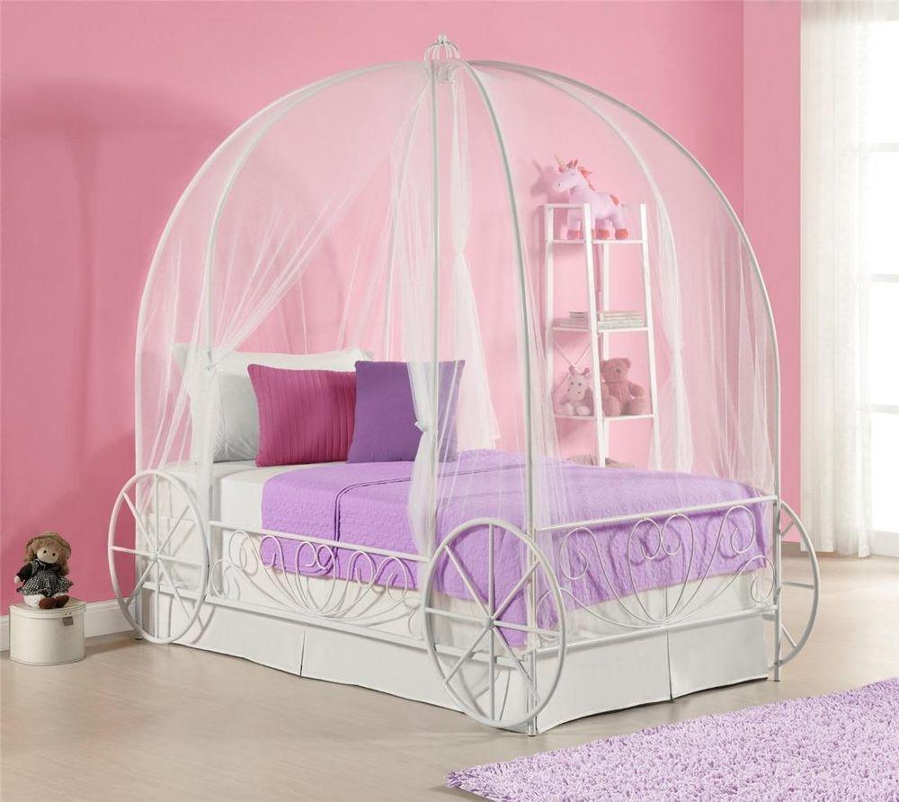Cinderella Carriage Bed White Disney Princess Coach Twin Canopy Metal Girls & Cinderella Carriage Bed White Disney Princess Coach Twin Canopy ...