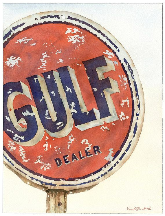 Gulf Dealer original watercolor by breakneckwatercolor on Etsy, $175.00. This still stands in downtown Brookhaven.