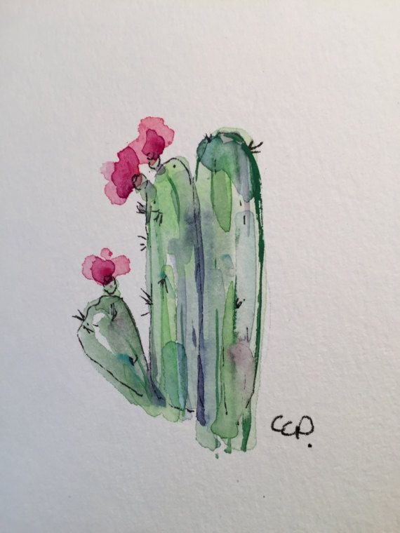 Cactus Watercolor Card X2f Hand Painted Blooming By