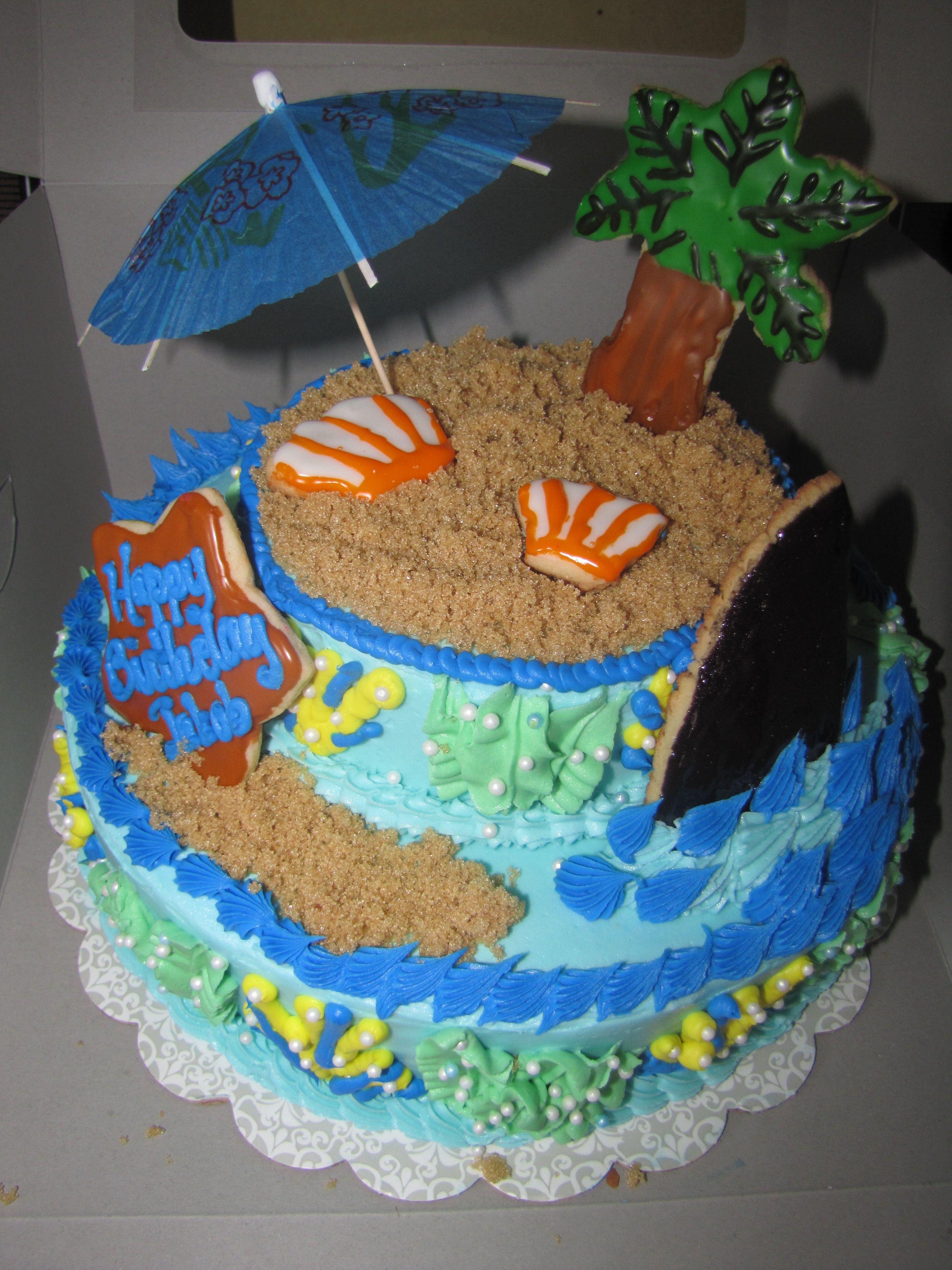 2 Tier Ocean Beach Theme Cake Beach Themed Cakes Themed Cakes