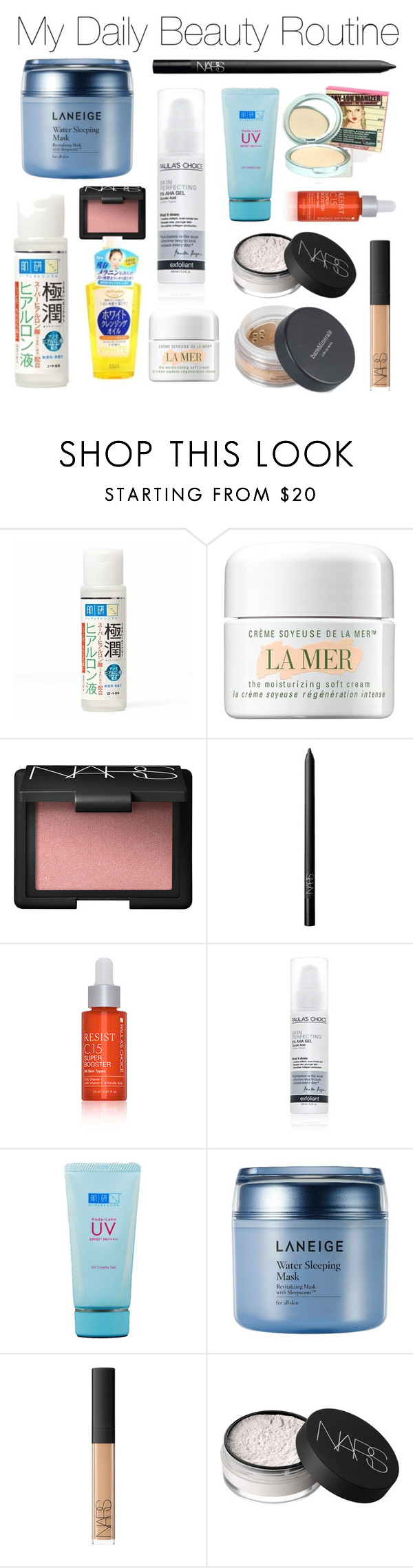 """""""Untitled #438"""" by jess ❤ liked on Polyvore featuring beauty, Kose, La Mer, NARS Cosmetics, Paula's Choice, Laneige, Bare Escentuals and TheBalm"""