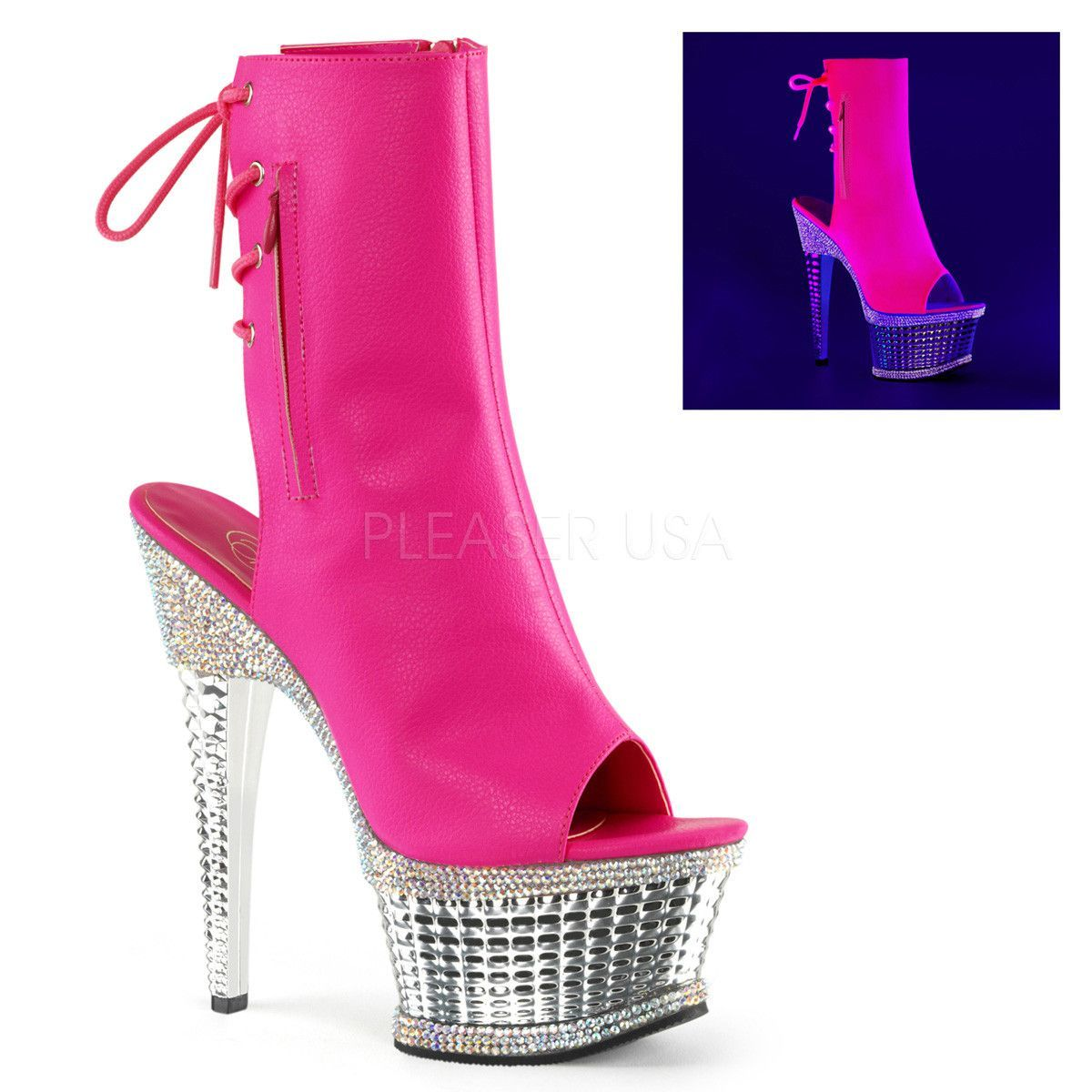 5cf2dc03a1c Pleaser ILLUSION-1018RS Neon Hot Pink Faux Leather Ankle Boots With ...