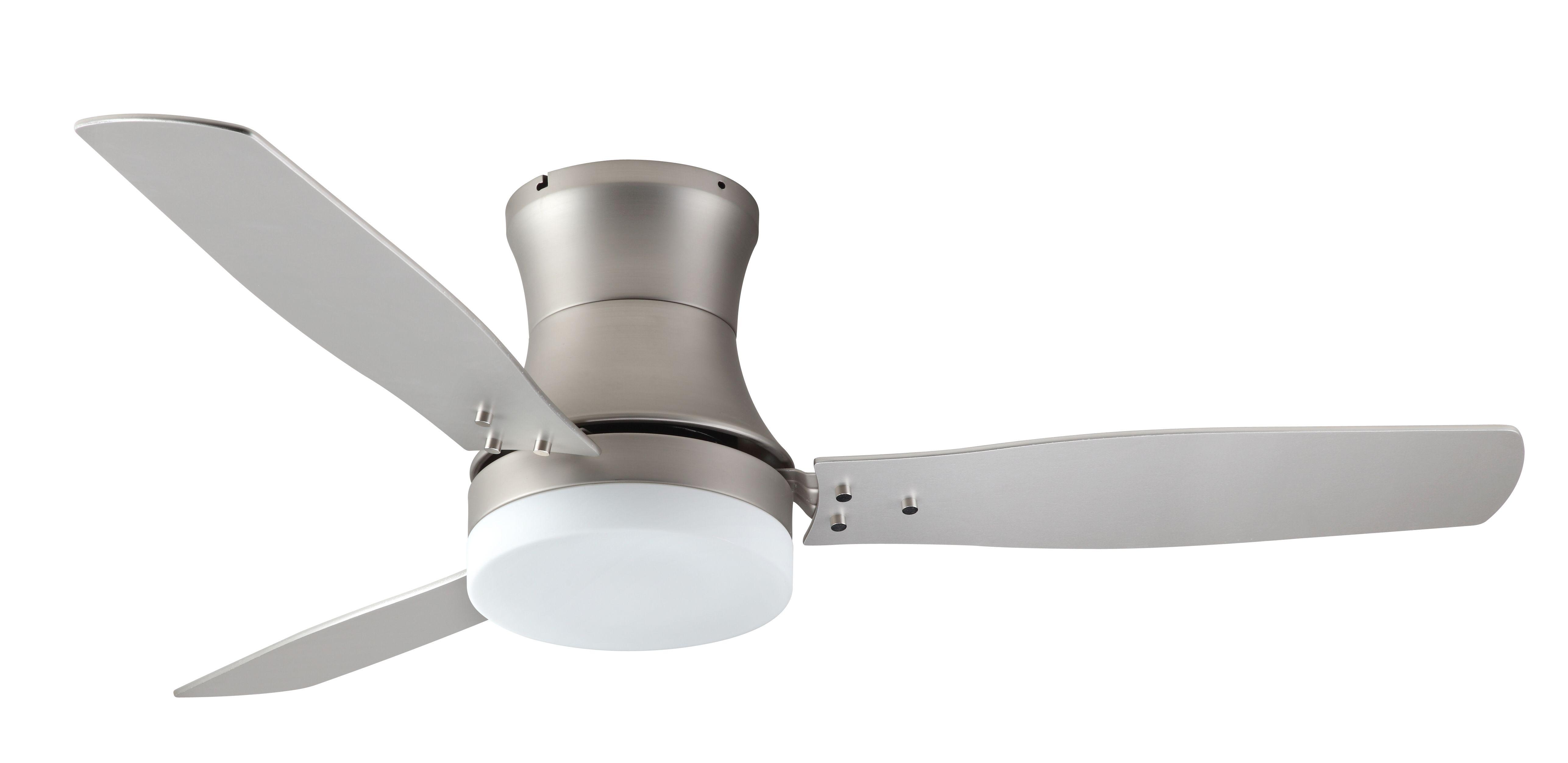 Troposair Modernaire Satin Steel Flush Mount Hugger Ceiling Fan