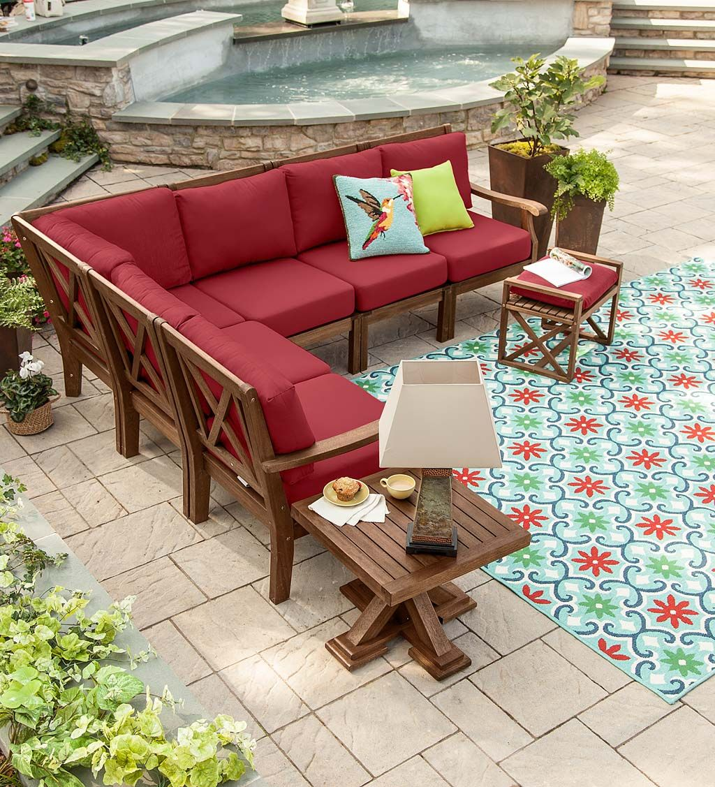 Claremont Sectional Outdoor Seating For A Crowd Eucalyptus Wood Is Sustainable And Durable Cushions Included Let Summer Begin Patio Patiofurniture