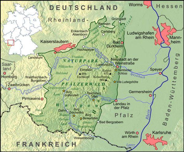 Hilmar Schmitt Pfalz Naturpark Pfalzerwald Beschreibung Karte