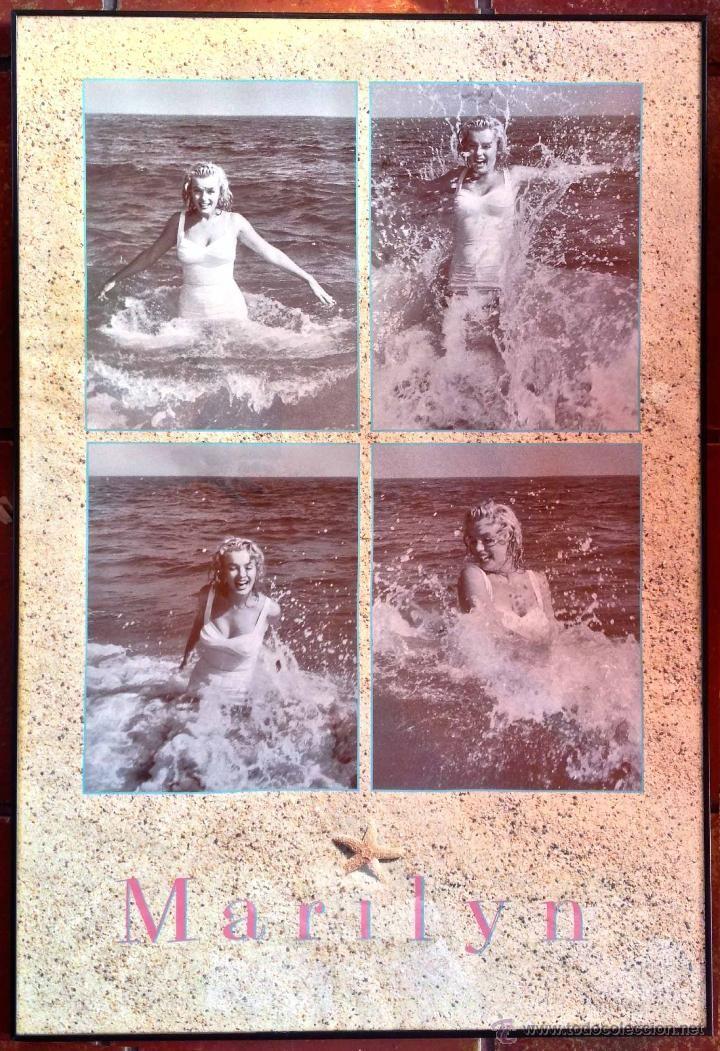 Cartel poster marilyn monroe 4 fotos playa cine enmarcado años 60 ...