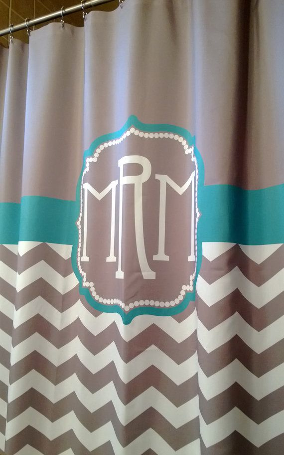 Shower Curtain Chevron YOU CHOOSE COLORS 70 78 84 Or 90 Inch Extra Long Custom Monogram Personalized For You Shown Warm Gray Emerald
