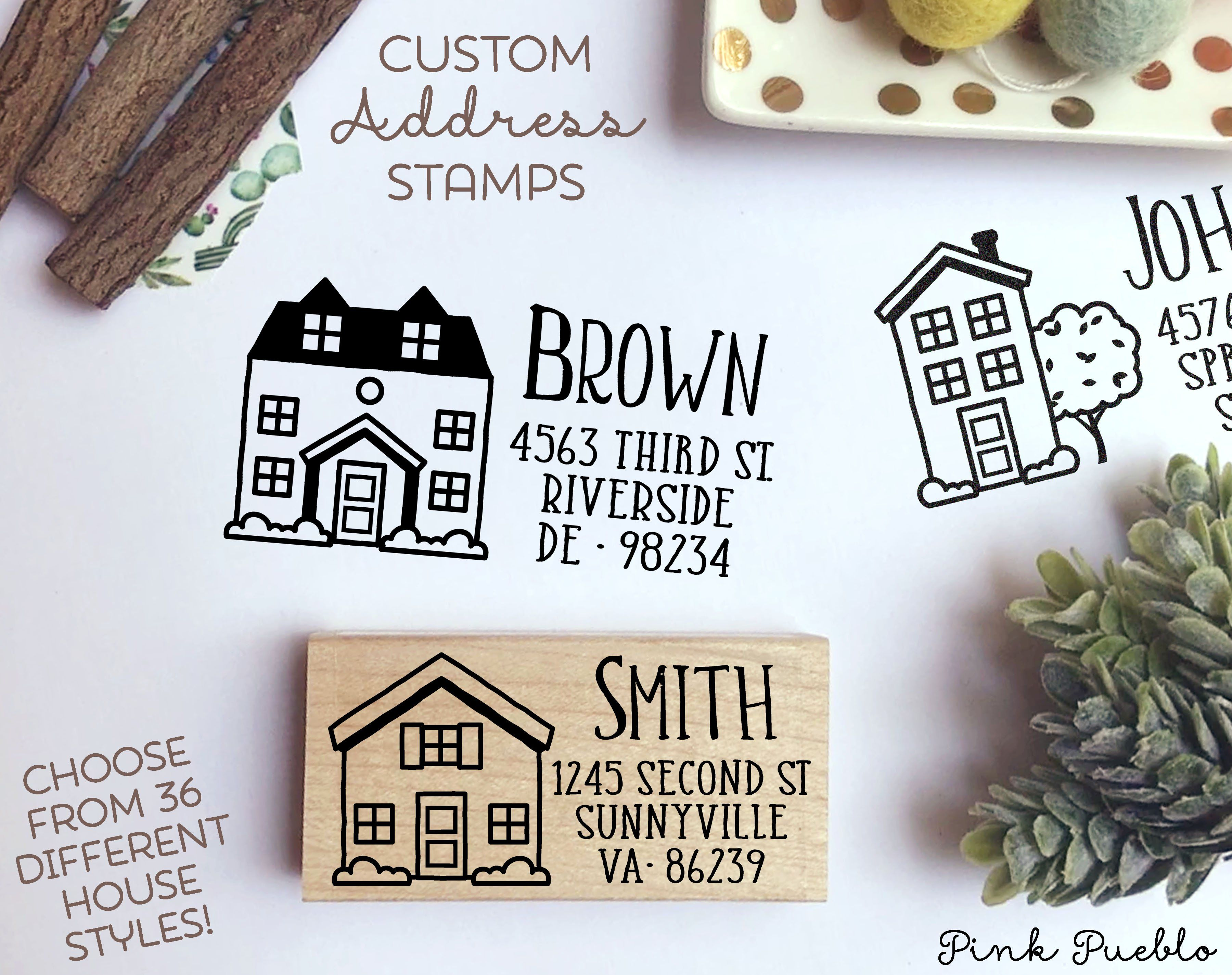 Personalized Address Stamp With House